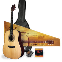 Cort Acoustic Guitar Package Solid Cedar Top Dreadnought - with Tuner, Strings, Picks and Gig Bag