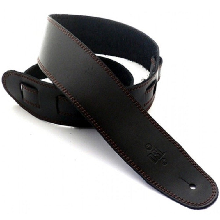 "DSL Straps Premium Leather Guitar Strap 2.5"" - Black with Brown Stitch"