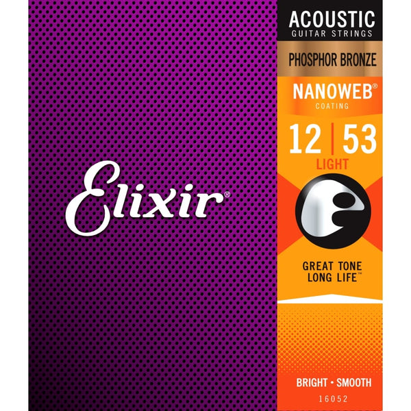 Elixir 16052 Nanoweb Coated Phosphor Bronze Acoustic Guitar Strings Light 12-53