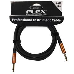 Tanglewood 3 Metre Black Rubber Instrument Guitar Cable - Straight