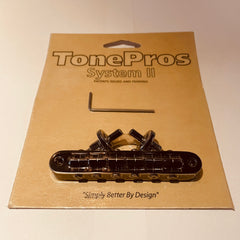 TonePros T3BP Nashville Tune-o-Matic Bridge Imperial with Notched Saddles - Cosmo Black