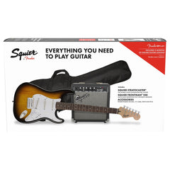 Squier Affinity Stratocaster Electric Guitar Package - Guitar, Amp, Cable, Strap, Picks & Lessons