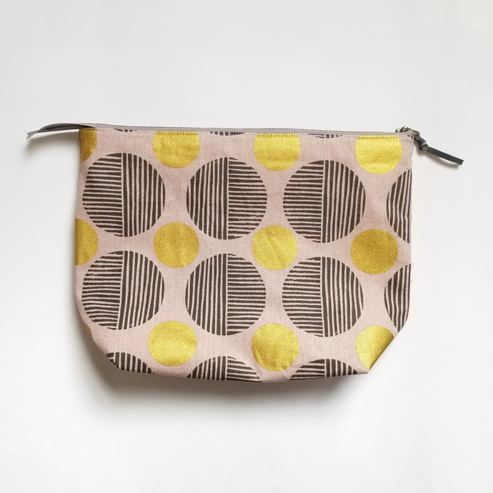 PRE-ORDER | Zippered Knitting Project Bag | Large | Blush Metallic Dot