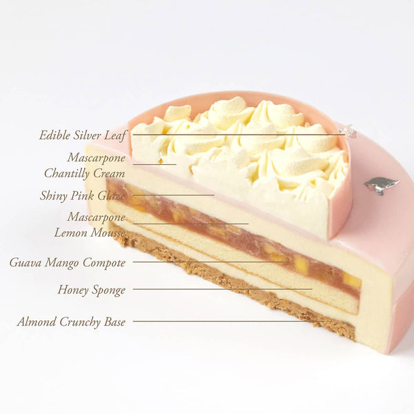 A Mother's day cake cut in half showcasing the components of each layer.