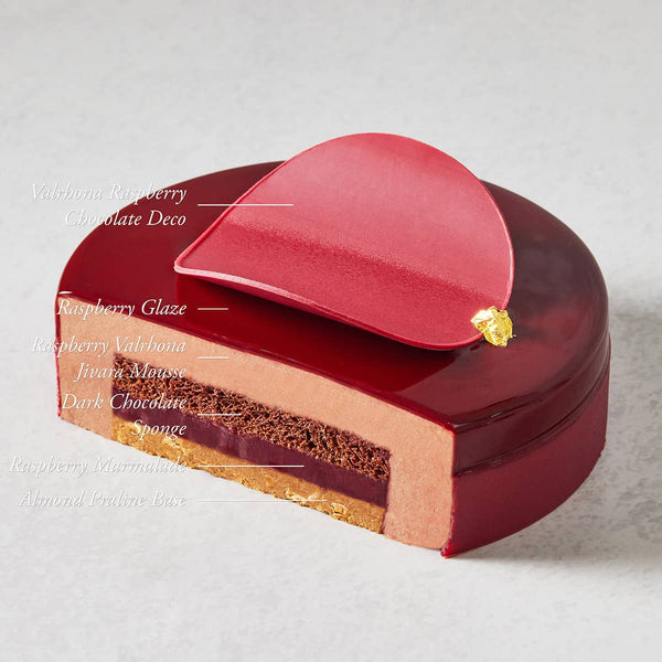 Valrhona Chocolate Raspberry Mousse Cake Components