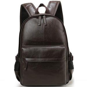 Vegan Leather Backpack - Classic Matte Black (For Men)