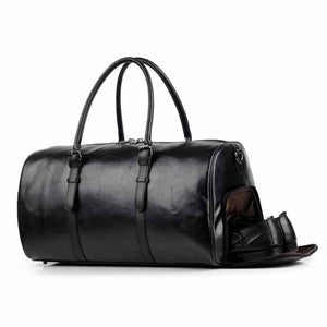 Vegan Leather Weekender Bag With Shoe Case (Unisex)