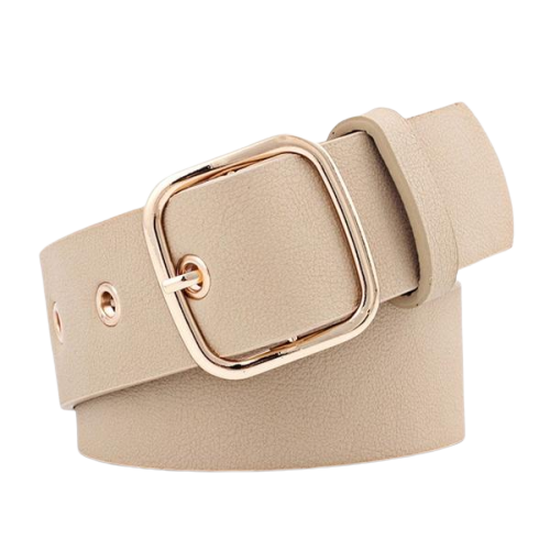 Vegan Leather Belt Square Buckle (For Women)