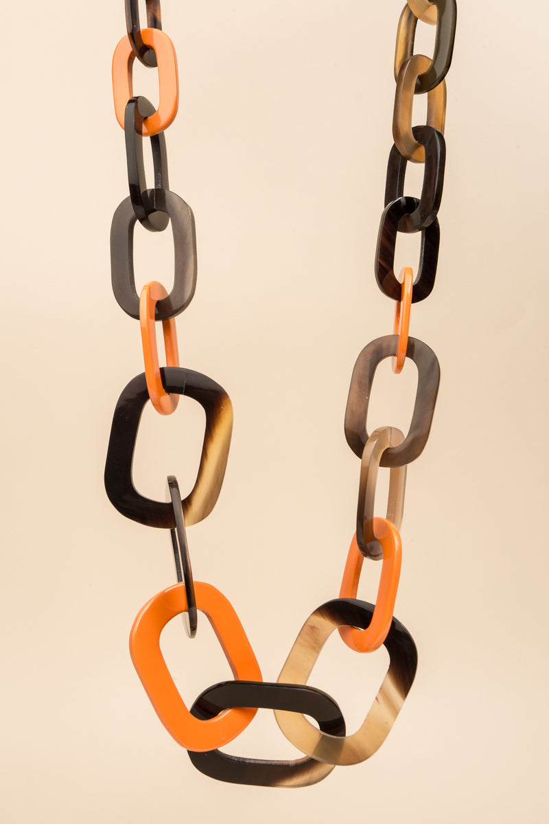 Long collier Dalia orange