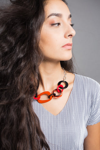Iman Red and black long necklace