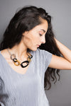 Iman Gray and Black Lace long necklace