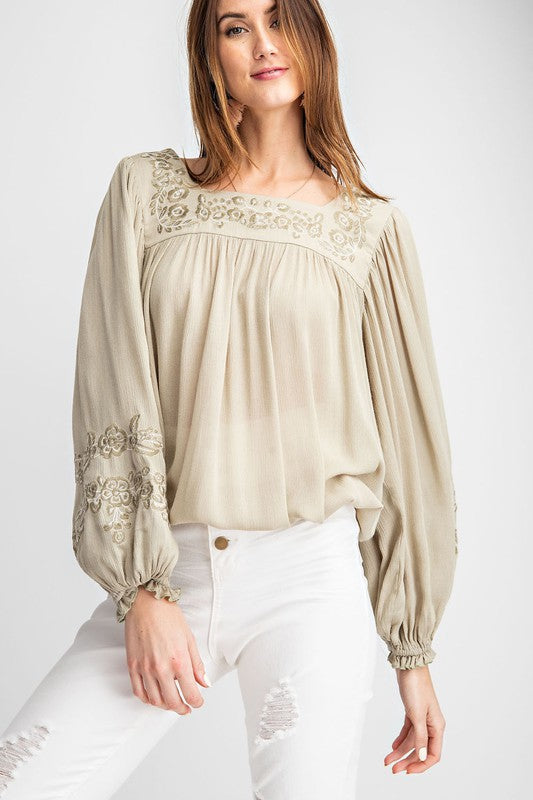 Tatiana Embroidered Long Sleeve Blouse