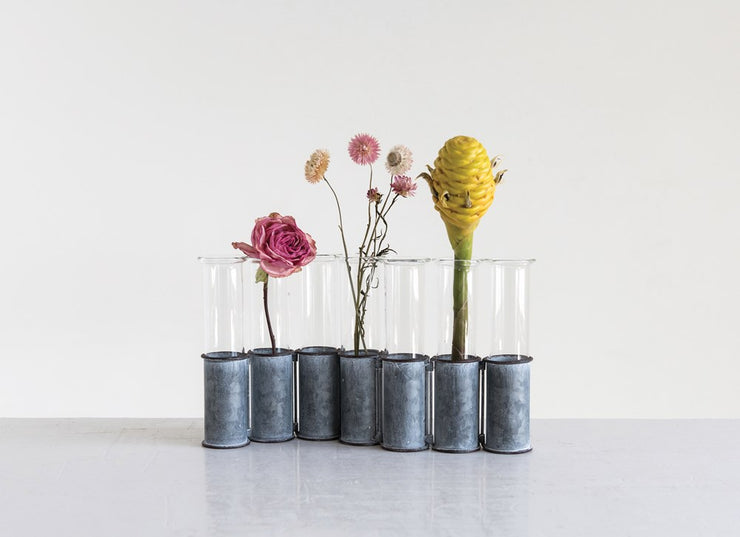 Metal Stand w/ 7 Glass Vases