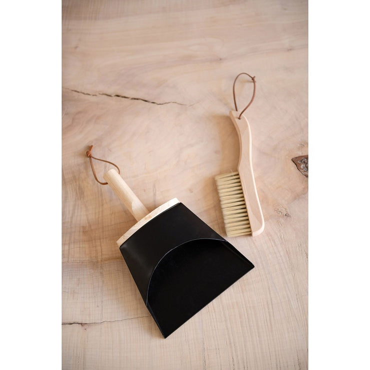 Wood Brush & Metal Dust Pan w/ Leather Straps
