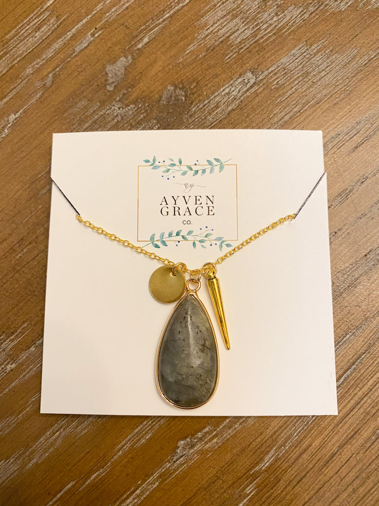 AGC Gold Chain Necklace W/ Grey Teardrop Pendant