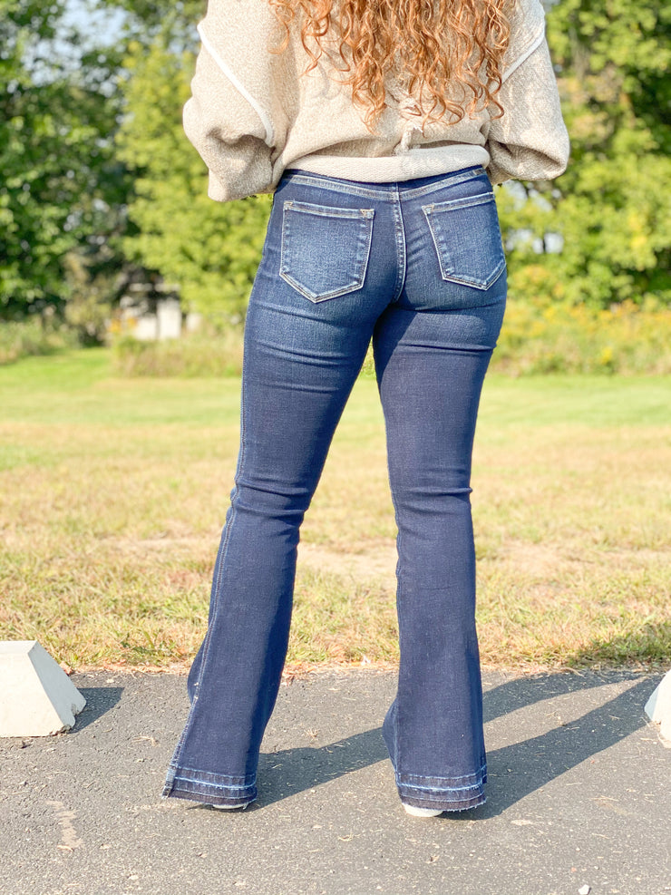 Jackie Double Button High Rise Flare Jeans