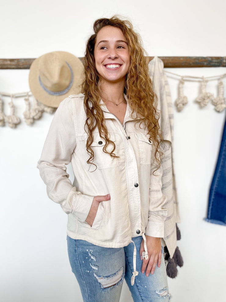 Arielle Linen Zip-Up Jacket