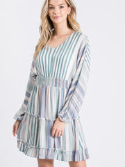 Lydia Teal Striped Tiered Dress