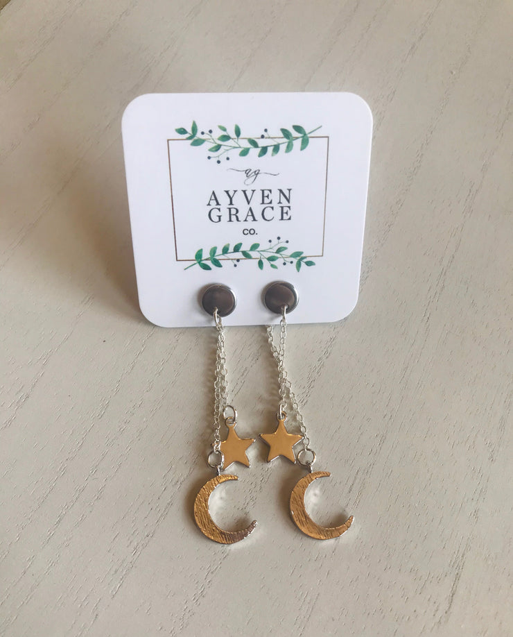 AGC Moon & Star Dangle Earrings