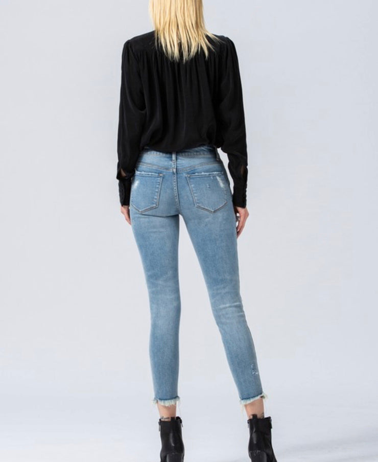 Monica High Rise Fray Hem Cropped Jeans