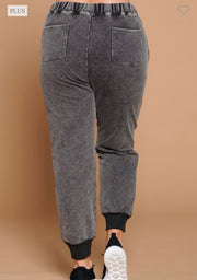 Joanie Grey Mineral Wash Knit Joggers