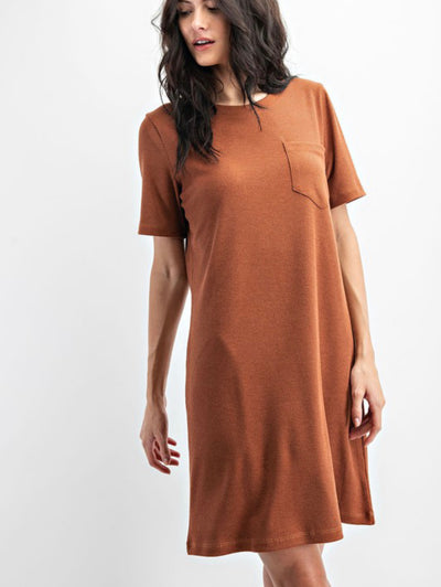 Viviana Ribbed Round Neck Shift Dress