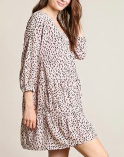 Ari Blush Leopard Button Down Dress