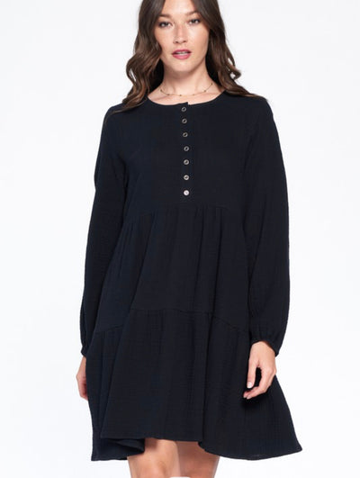 Kyra Black Cotton Tiered Long Sleeve Dress