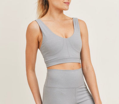 AT8102- Light Grey/Charcoal- Sports Bra