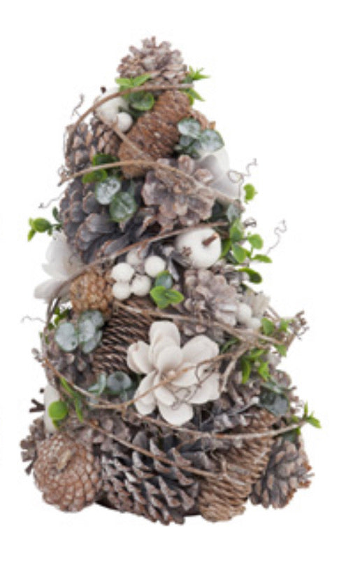 "Pinecone and White Berry Tree 13""H"