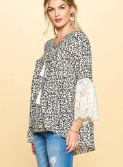 Ivory Leopard Print Blouse W/ Lace Bell Sleeves