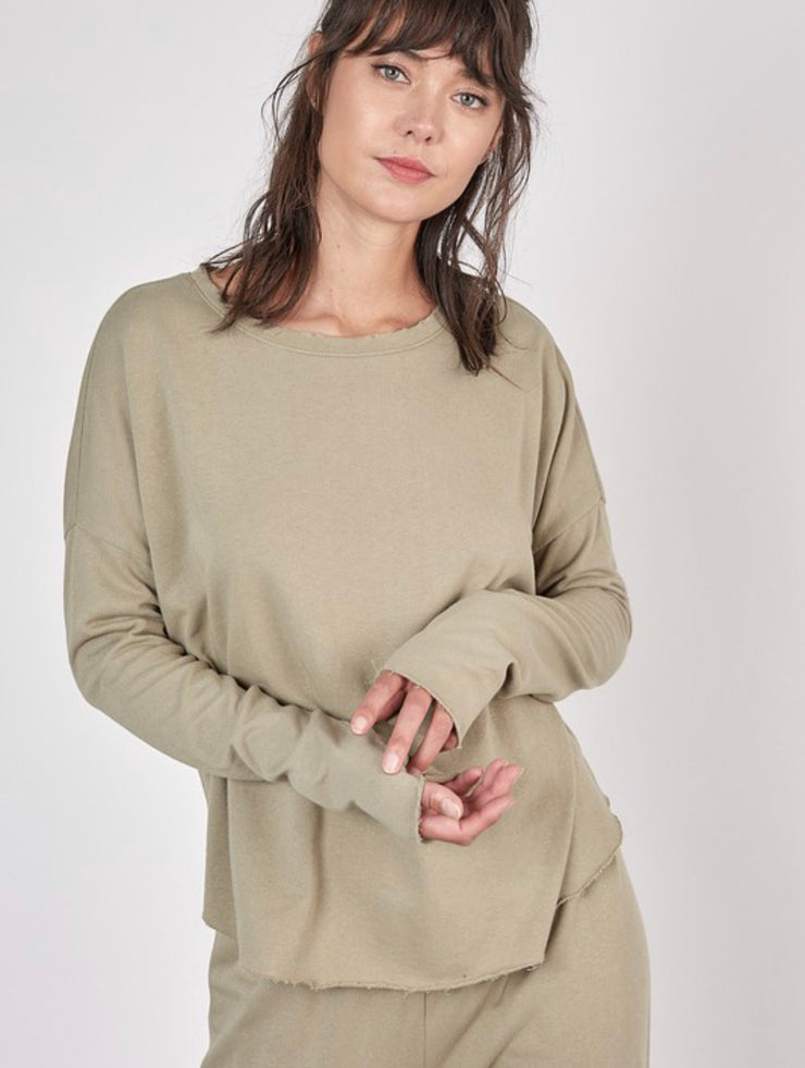 Sylvie Olive Raw Cut Hem Long Sleeve