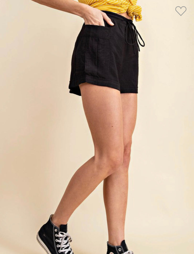 Octavia Black Cargo Drawstring Shorts