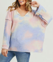 Sophia Blush Tie Dye Reverse Stitching Long Sleeve