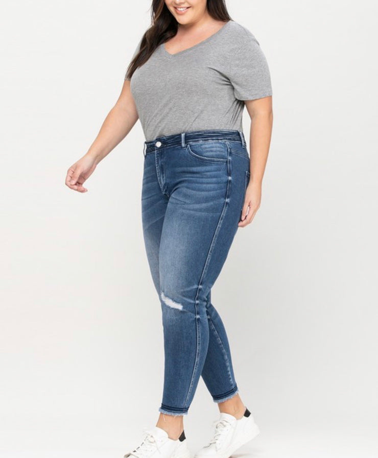 Tonya Detailed Waistband Cropped Skinny Jeans