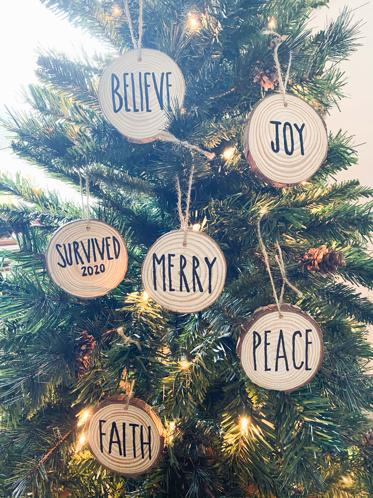 Wooden Ornaments W/ Words