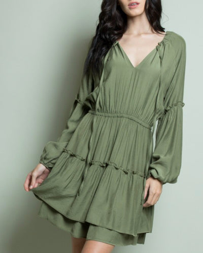 Bonnie Solid Ruffle V-Neck Dress