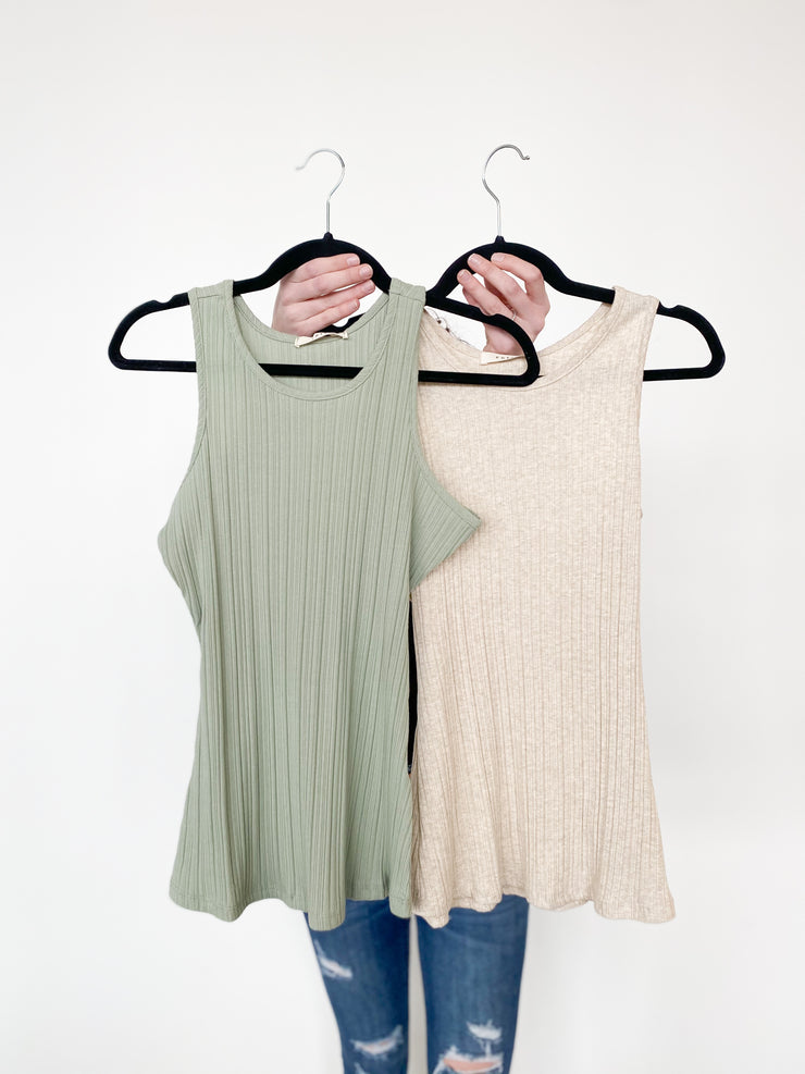 Cloey Ribbed Scoop Neck Tank