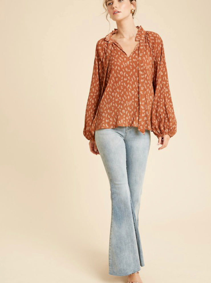 Mary Floral Balloon Sleeve Blouse