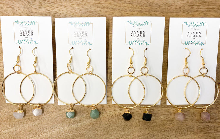Aniya Gold Plated Hoops w/ Gem