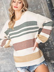 Mariam Multi Striped Cream Sweater