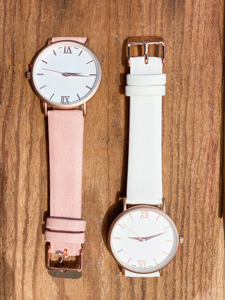 Solid Leather Watch W/ Rose Gold
