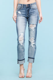 Judy Blue Destroyed Bleach Splatter Boyfriend Jeans (mid-rise)