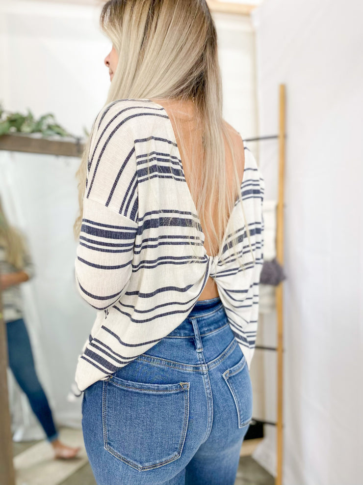 Sienna Striped Open Twist Back Top