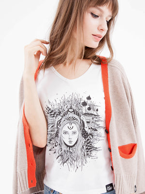 Gift Set - Open Cuff Cashmere Cardigan & Graphic Tee