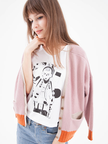 Gift Set - Two Tone Cashmere Cardigan & Graphic Tee