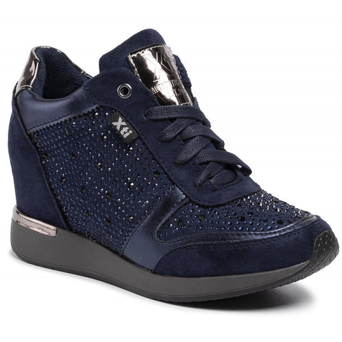 XTI Navy Hidden Wedge Embellished Trainer