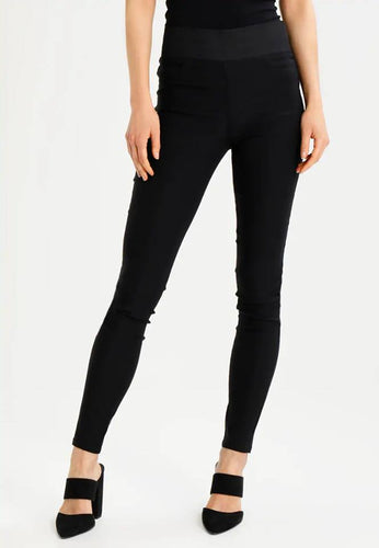 Ladies High Elastic Waisted Pull On Black Skinny Trouser