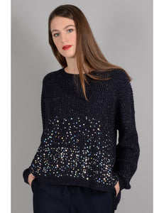 Navy Pull Sequin Jumper