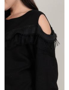 Curve Sweater with ruffles on the front and Cold Shoulder Detail_